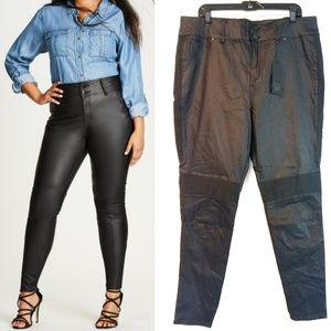 22 City Chic Moto Skinny Wet Look Black Pants NWT